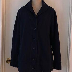 Navy blue coat sweatshirtlike material